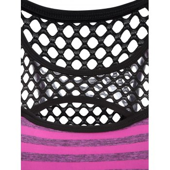 Openwork Striped Cut Out Sport Bra - M M