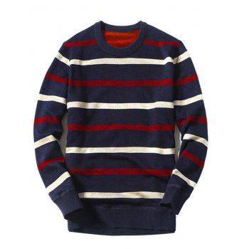 Buy Knitted Striped Crew Neck Pullover Sweater CADETBLUE
