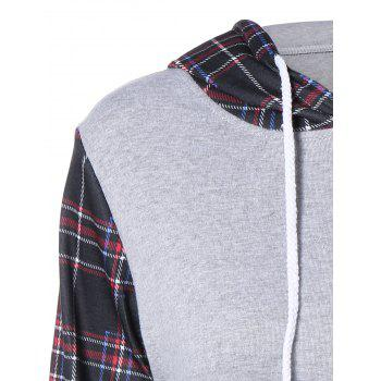 Plaid Pocket Embellished String Hoodie - COLORMIX S