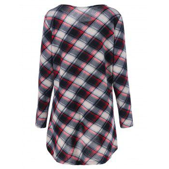 Plus Size Plaid Long Sleeve Dress - CHECKED 4XL
