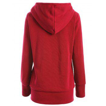 Zipper Fly Thicken Leopard Pattern Hoodie - LUMINOUS BRIGHT RED S