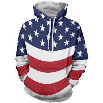 Kangaroo Pocket Stars and Stripes Printed Hoodie