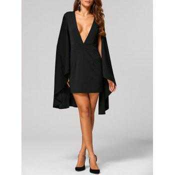 Plunge Neck Cape Dress