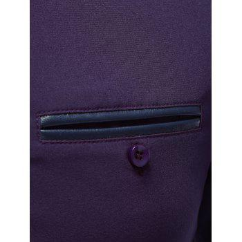 Breast Pocket Embroidered Cuff Button Up Shirt - PURPLE XL