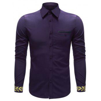 Breast Pocket Embroidered Cuff Button Up Shirt