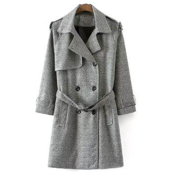 Belted Double-Breasted Houndstooth Walker Coat