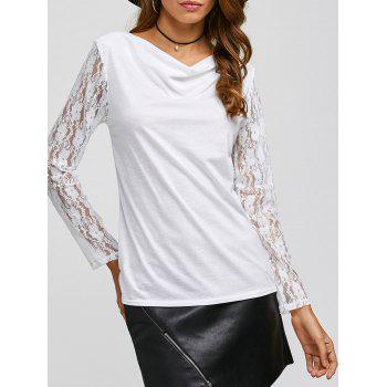 Lace Sleeve Cowl Neck T-Shirt