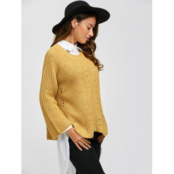 Long Sleeve Pullover Sweater - GINGER ONE SIZE