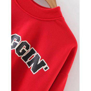 Mock Neck Graphic Print Cropped Sweatshirt - RED L