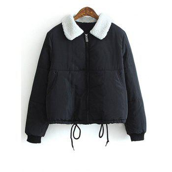 Lamb Wool Collar Drawstring Padded Coat