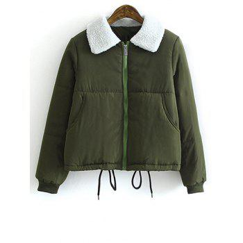Buy Lamb Wool Collar Drawstring Short Padded Coat ARMY GREEN
