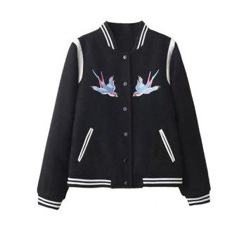 Embroidered Snap Closure Baseball Jacket