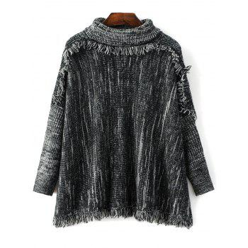 Turtle Neck Tassel Space Dyed Sweater