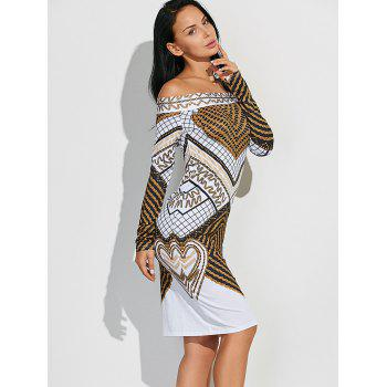 Off Shoulder Geometric Bodycon Dress with Long Sleeves - WHITE WHITE