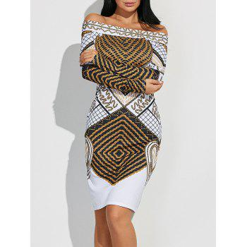 Off Shoulder Geometric Bodycon Dress with Long Sleeves - WHITE M