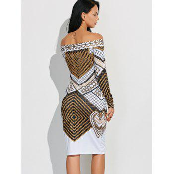 Off Shoulder Geometric Bodycon Dress with Long Sleeves - S S