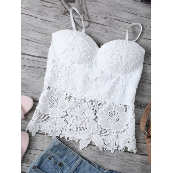 Openwork Lace Hook Padded Cami Top