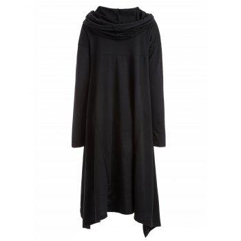 Asymmetrical Pocket Design Loose-Fitting Neck Hoodie - BLACK M