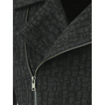 Lapel Collar Diagonal Zip-Up Geometric Pattern Jacket - BLACK BLACK