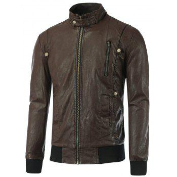 Zip-Up Stand Collar Rib Spliced PU Biker Jacket - BROWN BROWN