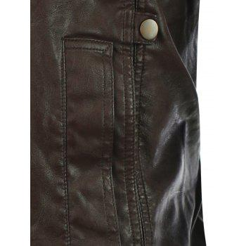 Zip-Up Stand Collar Rib Spliced PU Biker Jacket - BROWN M