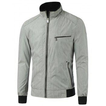 Zipper Pocket Stand Collar Rib Spliced Jacket - GRAY GRAY