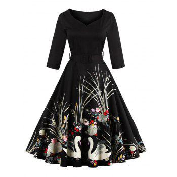 Vintage Print Belted Flare High Waist Dress