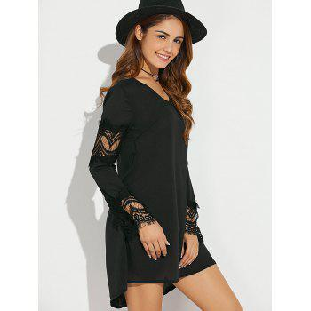 V-Neck Eyelash Lace Insert Asymmetrical Dress - BLACK BLACK