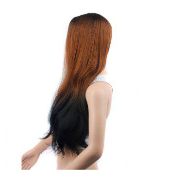 Long Ombre Color Slightly Curled Middle Part Synthetic Wig - COLORMIX