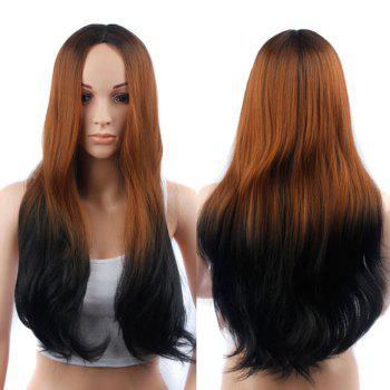 Long Ombre Color Slightly Curled Middle Part Synthetic Wig