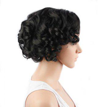 Faddish Short Side Parting Curly Synthetic Wig - BLACK