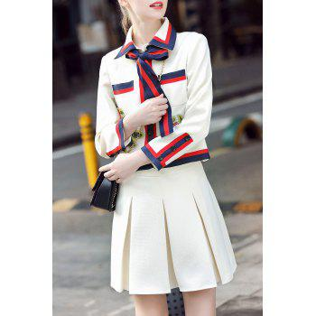 Bow Tie Embroidered Jacket Two Piece Dress