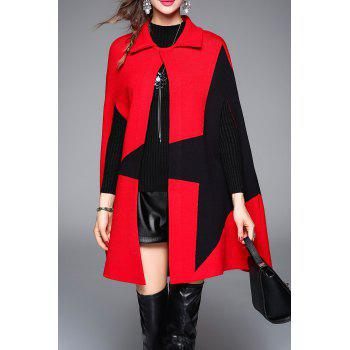 Color Block Knitted Cape Coat