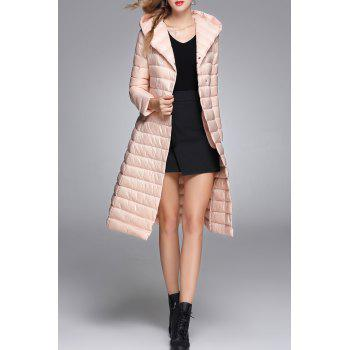 Longline Hooded Down Coat - SHALLOW PINK M