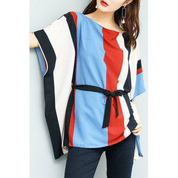 Color Block Batwing Chiffon Top