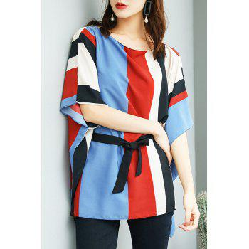 Color Block Batwing Chiffon Top - STRIPE S