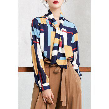 Color Block Pussy Bow Tie Chiffon Blouse