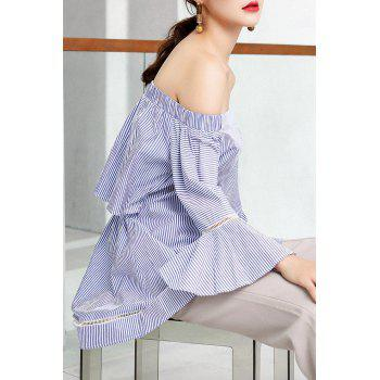 Off The Shoulder Striped Tunic Top - BLUE/WHITE S
