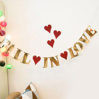 Fall In Love Banner Bunting For Festival Wedding Party Supplies - GOLDEN