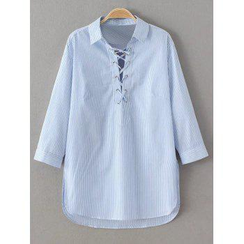 Buy Striped Lace Long Sleeve Blouse BLUE/WHITE