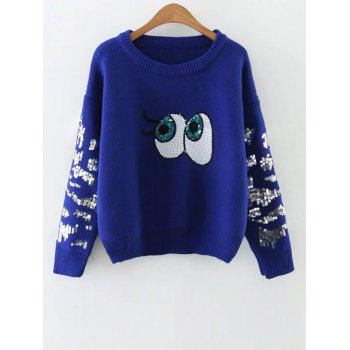 Round Neck Eye Pattern Sequins Sweater