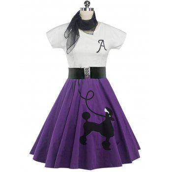 Retro Poodle Print High Waist Skater Dress - PURPLE M