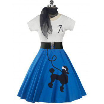 Retro Poodle Print High Waist Skater Dress - BRIGHT BLUE M