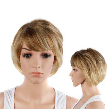 Short Double Color Side Bang Straight Synthetic Wig