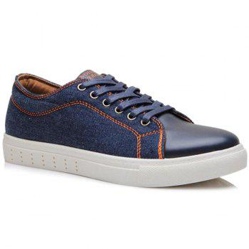 Lace-Up Denim Splicing Casual Shoes
