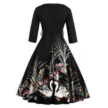 Vintage Printed Fit and Flare Waisted Dress - BLACK S