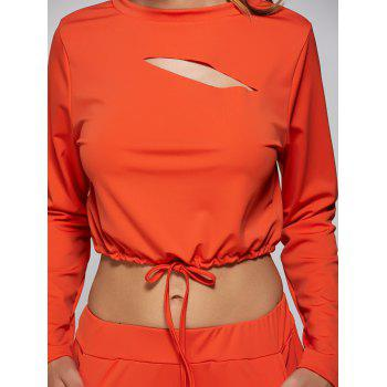 Cropped Sweatshirt and High Waisted Ripped Pants - ORANGE RED L