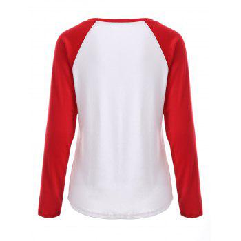 Black Friday Print Raglan Sleeve Tee - RED/WHITE L