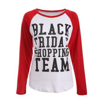Black Friday Print Raglan Sleeve Tee - RED WITH WHITE RED/WHITE