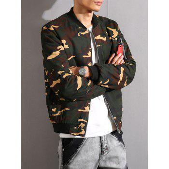 Camouflage Stand Collar Thicken Zip-Up Jacket - ARMY GREEN ARMY GREEN